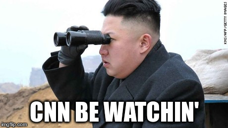 Why they no blackamil him? | CNN BE WATCHIN' | image tagged in kim jong un binoculars | made w/ Imgflip meme maker