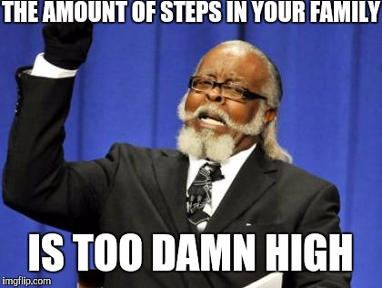 Too Damn High Meme | THE AMOUNT OF STEPS IN YOUR FAMILY IS TOO DAMN HIGH | image tagged in memes,too damn high | made w/ Imgflip meme maker