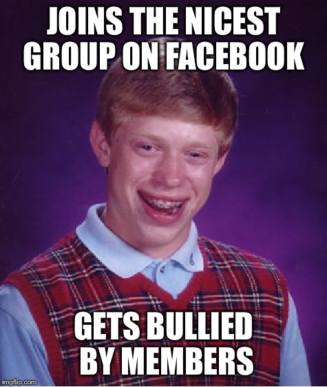 Bad Luck Brian Meme | JOINS THE NICEST GROUP ON FACEBOOK GETS BULLIED BY MEMBERS | image tagged in memes,bad luck brian | made w/ Imgflip meme maker