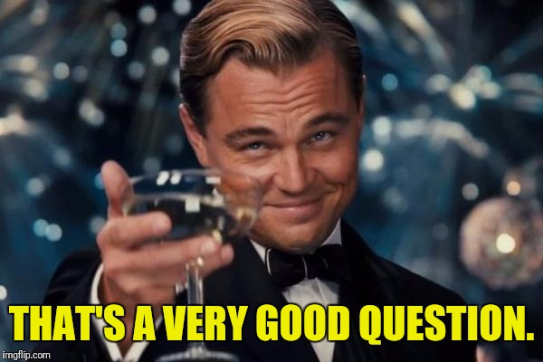 Leonardo Dicaprio Cheers Meme | THAT'S A VERY GOOD QUESTION. | image tagged in memes,leonardo dicaprio cheers | made w/ Imgflip meme maker