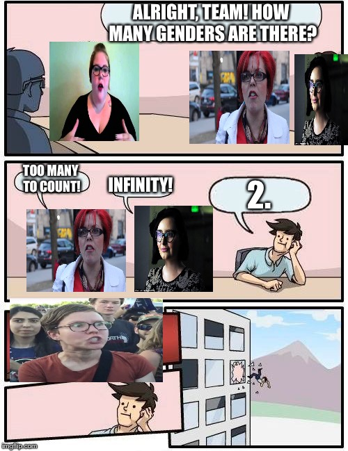 I agree with the guy... | ALRIGHT, TEAM! HOW MANY GENDERS ARE THERE? TOO MANY TO COUNT! INFINITY! 2. | image tagged in memes,boardroom meeting suggestion,funny,feminism,there are only two genders | made w/ Imgflip meme maker