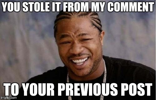 Yo Dawg Heard You Meme | YOU STOLE IT FROM MY COMMENT TO YOUR PREVIOUS POST | image tagged in memes,yo dawg heard you | made w/ Imgflip meme maker