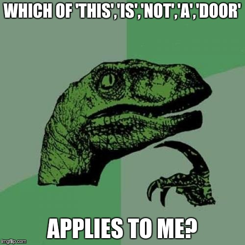Philosoraptor Meme | WHICH OF 'THIS','IS','NOT','A','DOOR' APPLIES TO ME? | image tagged in memes,philosoraptor | made w/ Imgflip meme maker