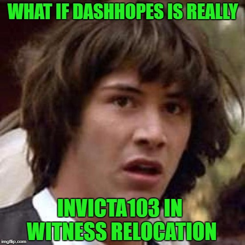 If I remember correctly, Invicta did say something about being watched by some government agency...Hmmmm... | WHAT IF DASHHOPES IS REALLY INVICTA103 IN WITNESS RELOCATION | image tagged in memes,conspiracy keanu,invicta103,funny,dashhopes,conspiracy theory | made w/ Imgflip meme maker