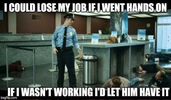 Security monitor | I COULD LOSE MY JOB IF I WENT HANDS ON IF I WASN'T WORKING I'D LET HIM HAVE IT | image tagged in security guard | made w/ Imgflip meme maker