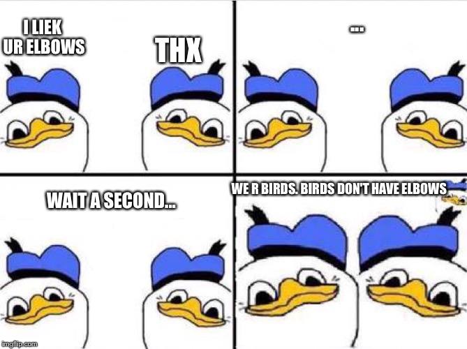 Don't ask. Just seriously. Don't ask.  | I LIEK UR ELBOWS WAIT A SECOND... THX ... WE R BIRDS. BIRDS DON'T HAVE ELBOWS | image tagged in memes,dolan duck,elbows | made w/ Imgflip meme maker