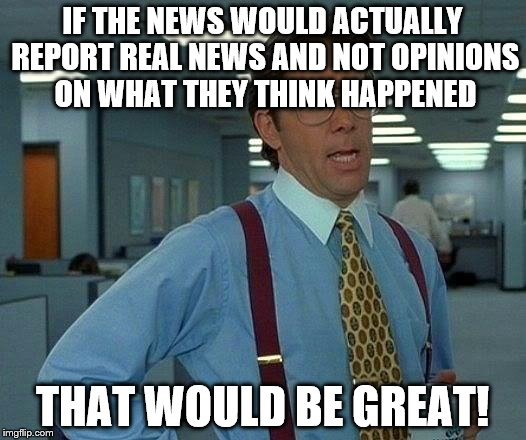 That Would Be Great Meme | IF THE NEWS WOULD ACTUALLY REPORT REAL NEWS AND NOT OPINIONS ON WHAT THEY THINK HAPPENED THAT WOULD BE GREAT! | image tagged in memes,that would be great | made w/ Imgflip meme maker