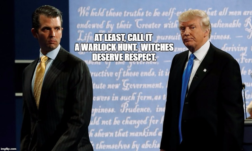 AT LEAST, CALL IT A WARLOCK HUNT.  WITCHES DESERVE RESPECT. | image tagged in witch hunt | made w/ Imgflip meme maker