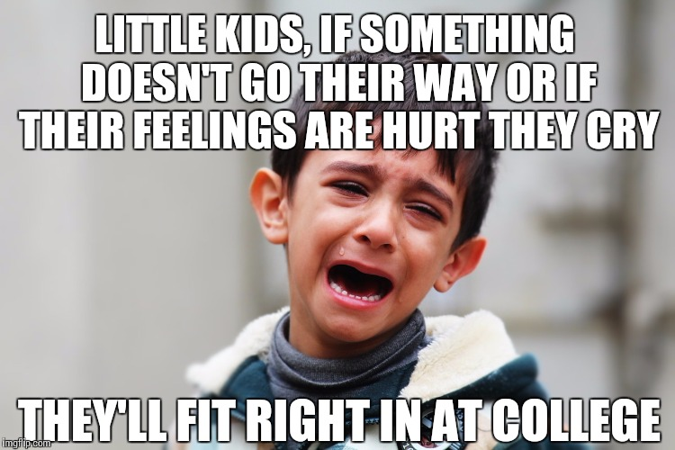 I mean really though... | LITTLE KIDS, IF SOMETHING DOESN'T GO THEIR WAY OR IF THEIR FEELINGS ARE HURT THEY CRY THEY'LL FIT RIGHT IN AT COLLEGE | image tagged in crying,college liberal,little kid,tears | made w/ Imgflip meme maker