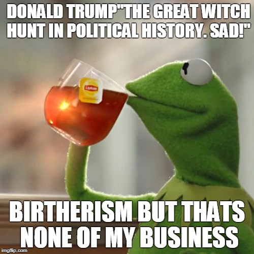 "sophist to the max  | DONALD TRUMP""THE GREAT WITCH HUNT IN POLITICAL HISTORY. SAD!"" BIRTHERISM BUT THATS NONE OF MY BUSINESS 