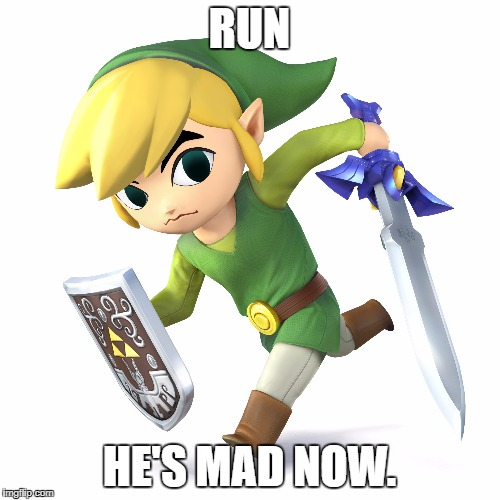 Toon Link | RUN HE'S MAD NOW. | image tagged in toon link | made w/ Imgflip meme maker