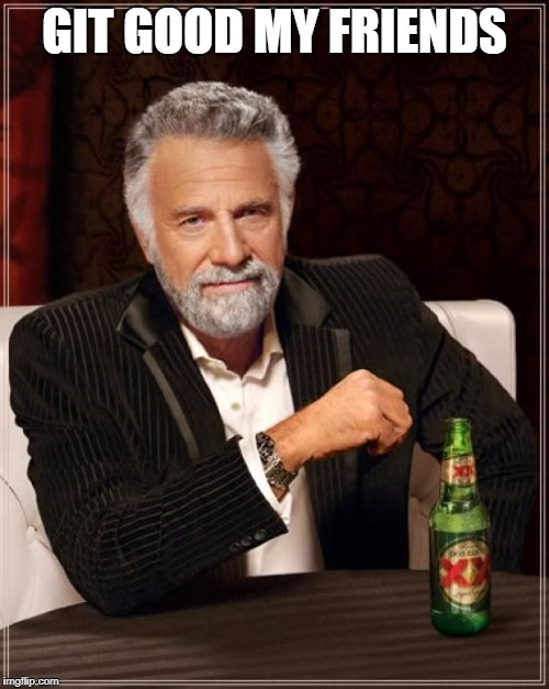 The Most Interesting Man In The World Meme | GIT GOOD MY FRIENDS | image tagged in memes,the most interesting man in the world | made w/ Imgflip meme maker
