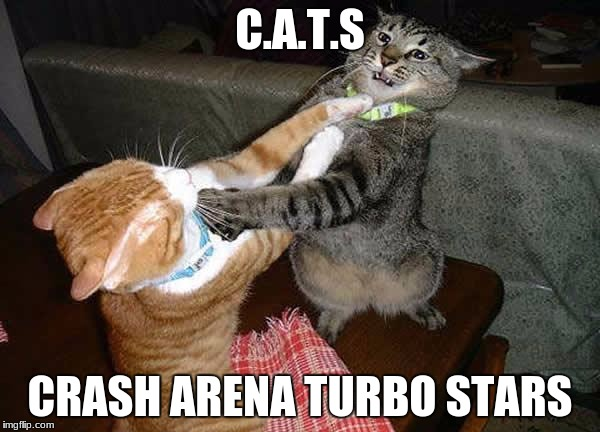 just wanted find my C.A.T.S fans | C.A.T.S CRASH ARENA TURBO STARS | image tagged in two cats fighting for real | made w/ Imgflip meme maker