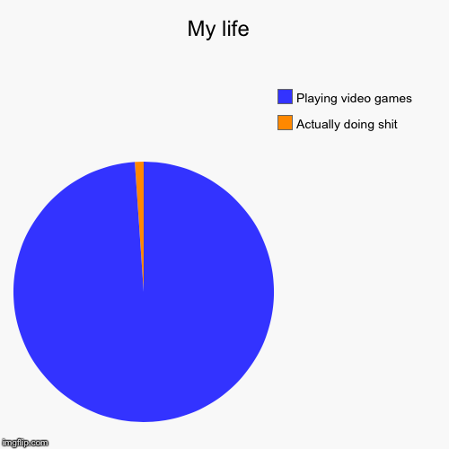 My life  | Actually doing shit, Playing video games | image tagged in funny,pie charts | made w/ Imgflip pie chart maker