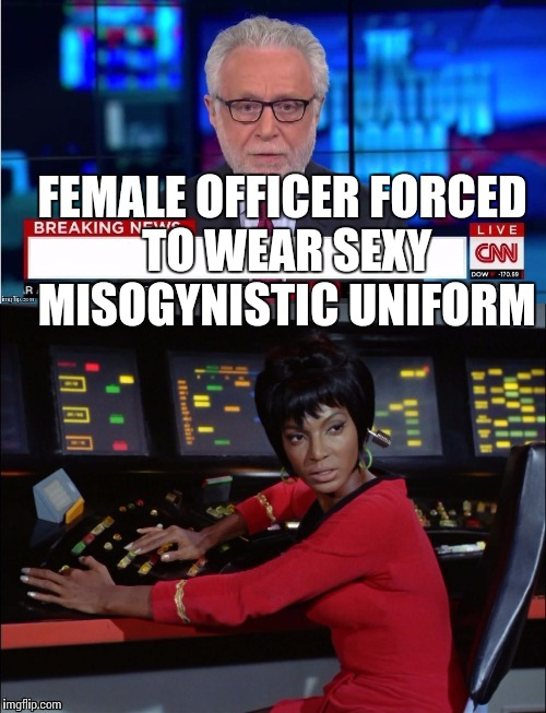 FEMALE OFFICER FORCED TO WEAR SEXY MISOGYNISTIC UNIFORM | made w/ Imgflip meme maker