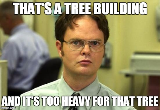 THAT'S A TREE BUILDING AND IT'S TOO HEAVY FOR THAT TREE | image tagged in dwight | made w/ Imgflip meme maker