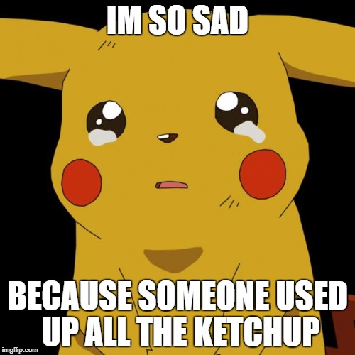 Pikachu crying | IM SO SAD BECAUSE SOMEONE USED UP ALL THE KETCHUP | image tagged in pikachu crying | made w/ Imgflip meme maker