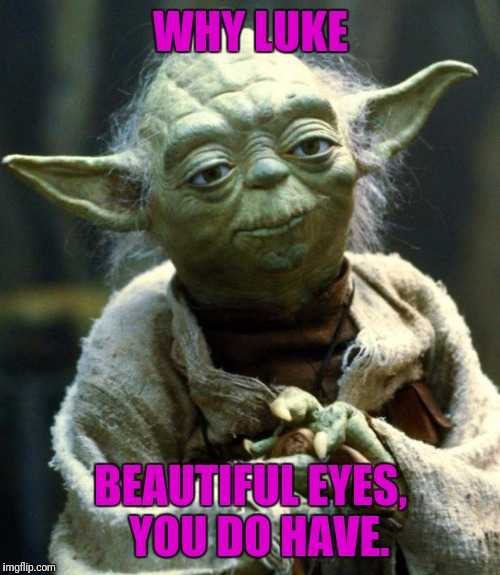 Star Wars Yoda Meme | WHY LUKE BEAUTIFUL EYES,  YOU DO HAVE. | image tagged in memes,star wars yoda | made w/ Imgflip meme maker