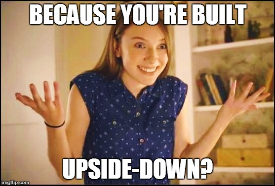 BECAUSE YOU'RE BUILT UPSIDE-DOWN? | made w/ Imgflip meme maker