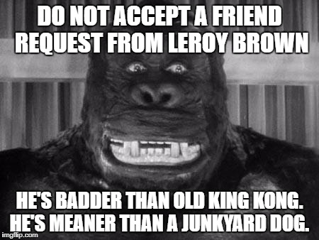 King kong | DO NOT ACCEPT A FRIEND REQUEST FROM LEROY BROWN HE'S BADDER THAN OLD KING KONG. HE'S MEANER THAN A JUNKYARD DOG. | image tagged in king kong | made w/ Imgflip meme maker