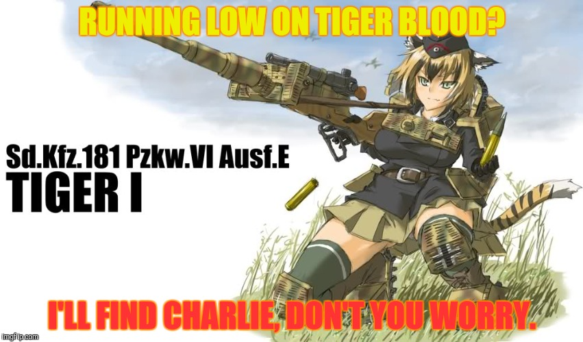 RUNNING LOW ON TIGER BLOOD? I'LL FIND CHARLIE, DON'T YOU WORRY. | made w/ Imgflip meme maker