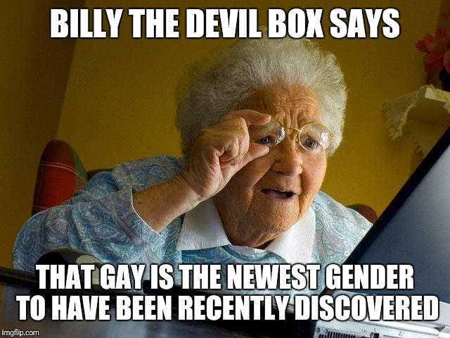 Grandma Finds The Internet Meme | BILLY THE DEVIL BOX SAYS THAT GAY IS THE NEWEST GENDER TO HAVE BEEN RECENTLY DISCOVERED | image tagged in memes,grandma finds the internet | made w/ Imgflip meme maker