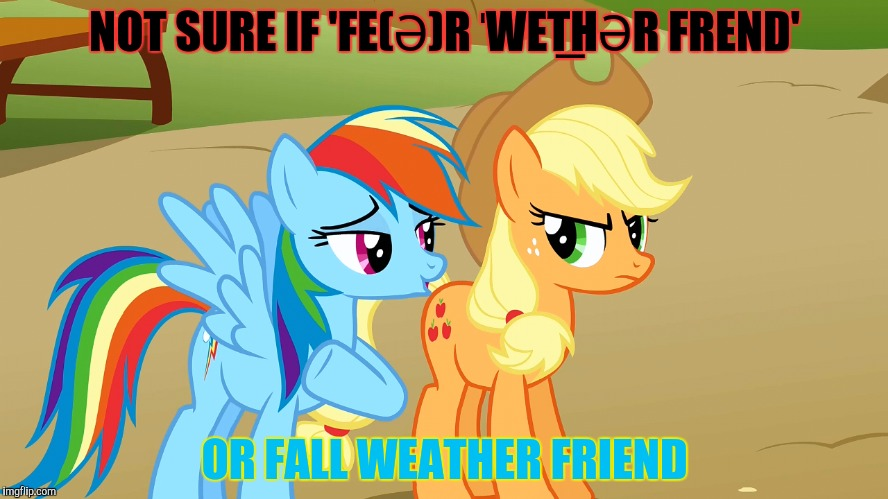 NOT SURE IF 'FE(Ə)R ˈWET͟HƏR FREND' OR FALL WEATHER FRIEND | made w/ Imgflip meme maker