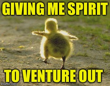 GIVING ME SPIRIT TO VENTURE OUT | made w/ Imgflip meme maker