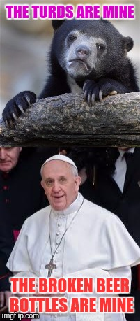 I KNOW What You Did In The Woods | THE TURDS ARE MINE THE BROKEN BEER BOTTLES ARE MINE | image tagged in memes,pope and bear,funny | made w/ Imgflip meme maker