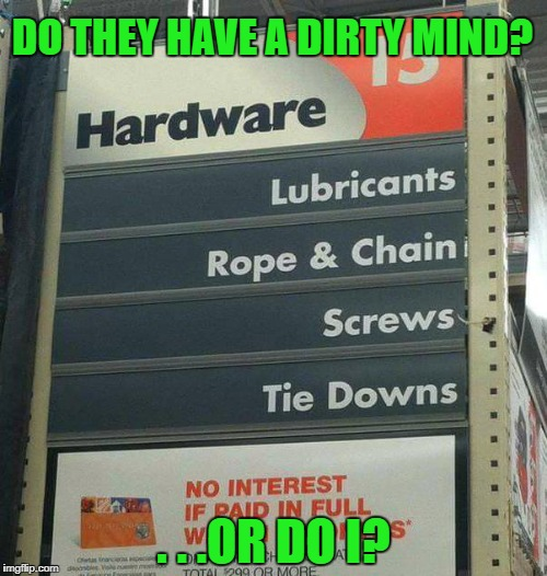 DO THEY HAVE A DIRTY MIND? . . .OR DO I? | image tagged in memes,dirty mind,funny,funny memes,first world problems,home depot | made w/ Imgflip meme maker