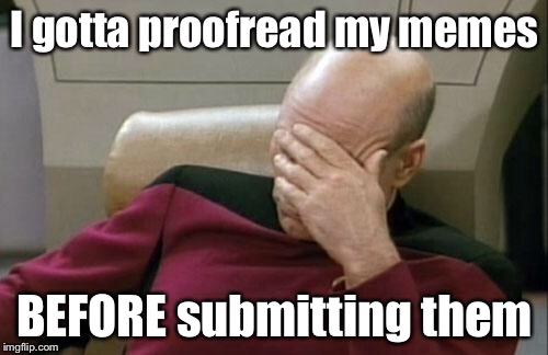 Captain Picard Facepalm Meme | I gotta proofread my memes BEFORE submitting them | image tagged in memes,captain picard facepalm | made w/ Imgflip meme maker