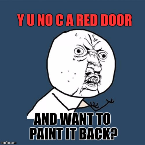 Y U no have moves like Jagger? | Y U NO C A RED DOOR AND WANT TO PAINT IT BACK? | image tagged in memes,y u no,funny,music,humor,song | made w/ Imgflip meme maker