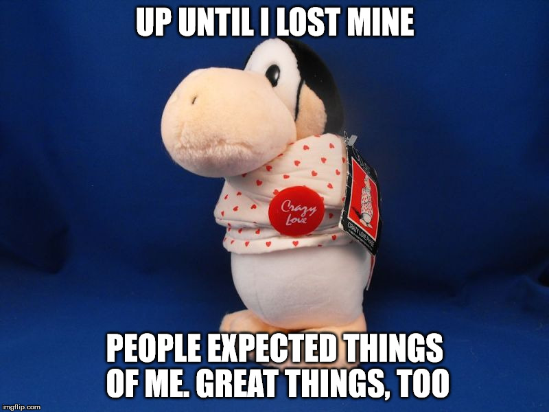 UP UNTIL I LOST MINE PEOPLE EXPECTED THINGS OF ME. GREAT THINGS, TOO | made w/ Imgflip meme maker