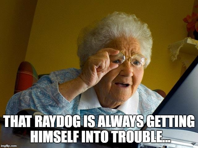 Grandma Finds The Internet Meme | THAT RAYDOG IS ALWAYS GETTING HIMSELF INTO TROUBLE... | image tagged in memes,grandma finds the internet | made w/ Imgflip meme maker