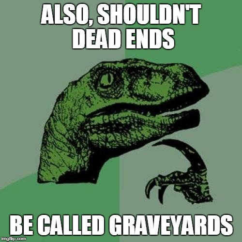 And bricks be pave-stones | ALSO, SHOULDN'T DEAD ENDS BE CALLED GRAVEYARDS | image tagged in memes,philosoraptor,roads,waypoints,funny,haha | made w/ Imgflip meme maker