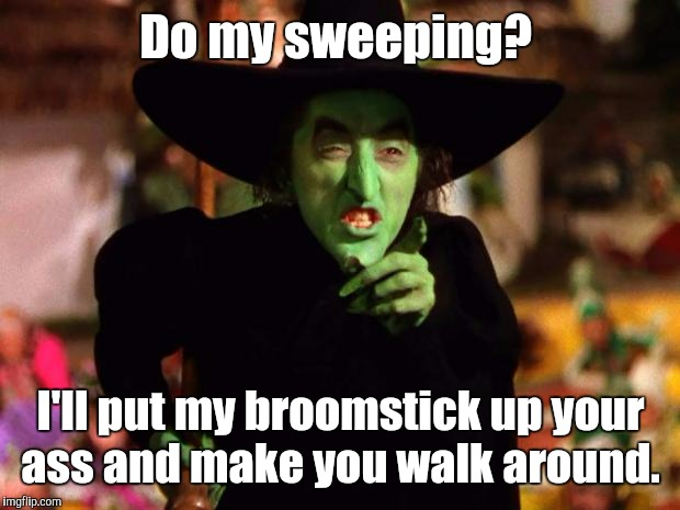 Do my sweeping? I'll put my broomstick up your ass and make you walk around. | made w/ Imgflip meme maker