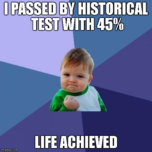 Success Kid Meme | I PASSED BY HISTORICAL TEST WITH 45% LIFE ACHIEVED | image tagged in memes,success kid | made w/ Imgflip meme maker