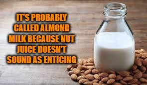 Almond Milk | IT'S PROBABLY CALLED ALMOND MILK BECAUSE NUT JUICE DOESN'T SOUND AS ENTICING | image tagged in almond milk,funny,funny memes,humor | made w/ Imgflip meme maker