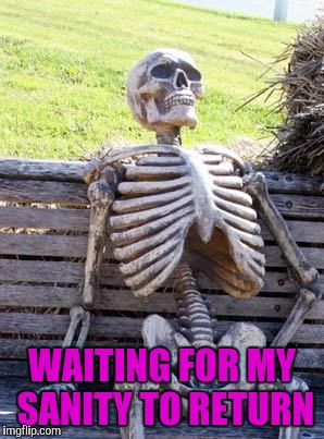 Waiting Skeleton Meme | WAITING FOR MY SANITY TO RETURN | image tagged in memes,waiting skeleton | made w/ Imgflip meme maker