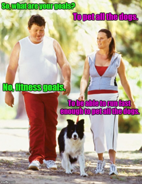 A person has to have their priorities straight. |  So, what are your goals? To pet all the dogs. No, fitness goals. To be able to run fast enough to pet all the dogs. | image tagged in funny meme,fitness,dogs,priorities | made w/ Imgflip meme maker