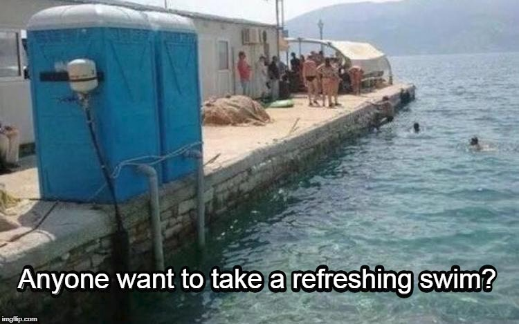 No. I'll pass. | Anyone want to take a refreshing swim? | image tagged in funny shit,swimming,bathrooms | made w/ Imgflip meme maker