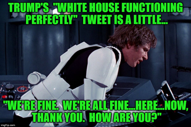 "You don't tell the passengers the plane's ""definitely not crashing"" if there's not something to worry about, folks. 