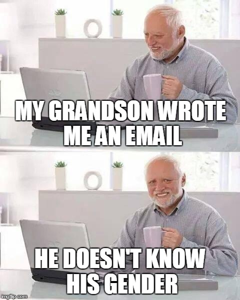 Even the most indulgent grandparent can only put up with so much! | MY GRANDSON WROTE ME AN EMAIL HE DOESN'T KNOW HIS GENDER | image tagged in memes,hide the pain harold,confusion,transgender,false a-gender,truth | made w/ Imgflip meme maker