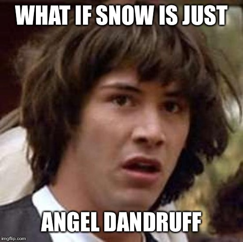 Conspiracy Keanu Meme | WHAT IF SNOW IS JUST ANGEL DANDRUFF | image tagged in memes,conspiracy keanu | made w/ Imgflip meme maker