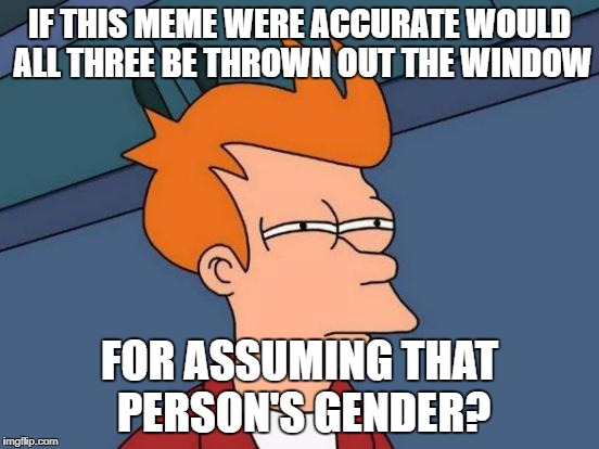 Futurama Fry Meme | IF THIS MEME WERE ACCURATE WOULD ALL THREE BE THROWN OUT THE WINDOW FOR ASSUMING THAT PERSON'S GENDER? | image tagged in memes,futurama fry | made w/ Imgflip meme maker
