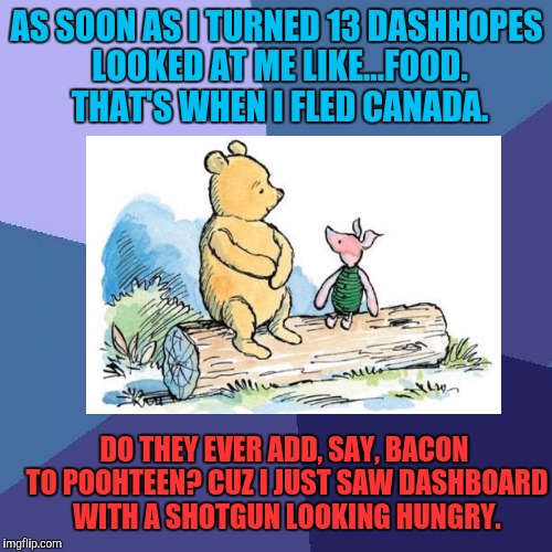 Name + age = food eh? Don't hurt me DashHopes. A soh has gotten you far. :D | AS SOON AS I TURNED 13 DASHHOPES LOOKED AT ME LIKE...FOOD. THAT'S WHEN I FLED CANADA. DO THEY EVER ADD, SAY, BACON TO POOHTEEN? CUZ I JUST S | image tagged in memes,funny,food,dark humor,canada,winnie the pooh | made w/ Imgflip meme maker