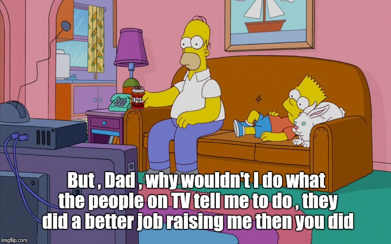 I know I watch too much TV , thank you | But , Dad , why wouldn't I do what the people on TV tell me to do , they did a better job raising me then you did | image tagged in homer and bart,philosophy,boob,youtube | made w/ Imgflip meme maker