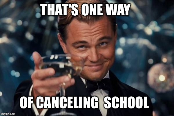 Leonardo Dicaprio Cheers Meme | THAT'S ONE WAY OF CANCELING  SCHOOL | image tagged in memes,leonardo dicaprio cheers | made w/ Imgflip meme maker