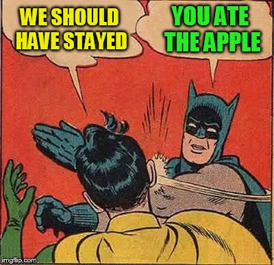 Batman Slapping Robin Meme | WE SHOULD HAVE STAYED YOU ATE THE APPLE | image tagged in memes,batman slapping robin | made w/ Imgflip meme maker