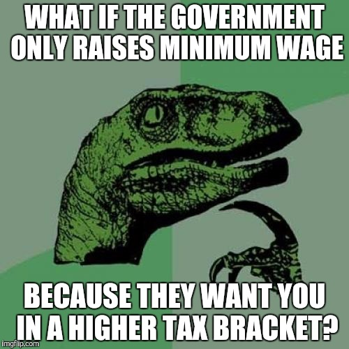 Philosoraptor Meme | WHAT IF THE GOVERNMENT ONLY RAISES MINIMUM WAGE BECAUSE THEY WANT YOU IN A HIGHER TAX BRACKET? | image tagged in memes,philosoraptor | made w/ Imgflip meme maker